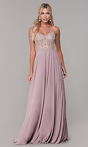 Image of long open-back prom dress with beaded bodice. Style: DQ-2513 Detail Image 3