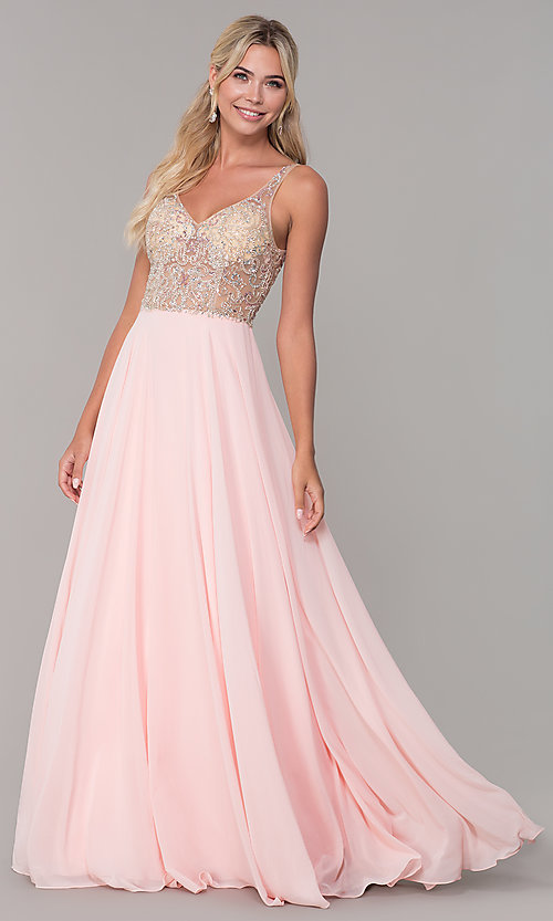 Image of long open-back prom dress with beaded bodice. Style: DQ-2513 Detail Image 4