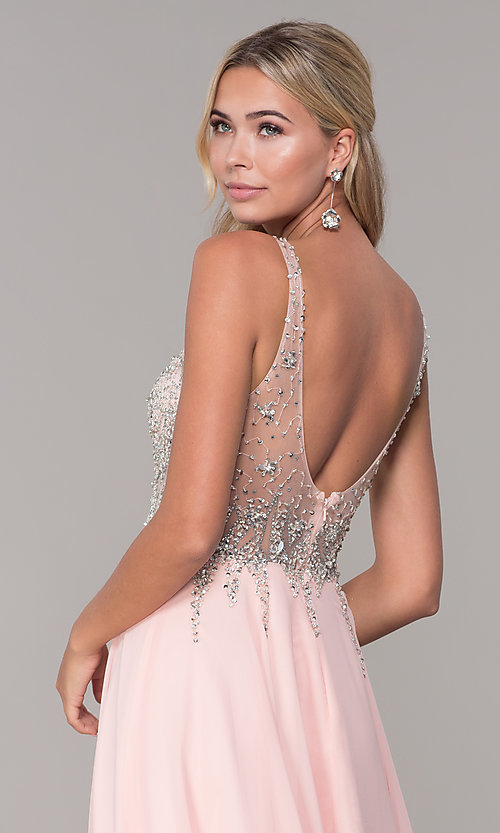 Image of long open-back prom dress with beaded bodice. Style: DQ-2513 Detail Image 7
