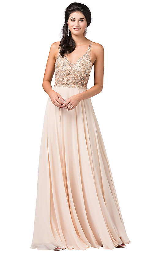 Image of long open-back prom dress with beaded bodice. Style: DQ-2513 Detail Image 1