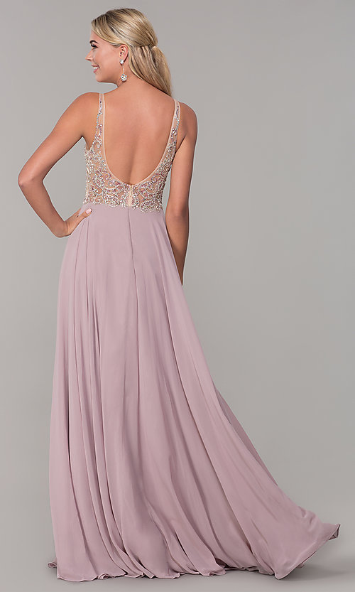 Image of long open-back prom dress with beaded bodice. Style: DQ-2513 Back Image