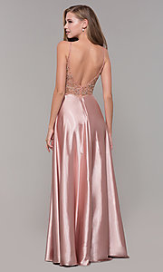 Image of beaded-bodice rose gold long formal prom dress. Style: DQ-2614 Back Image