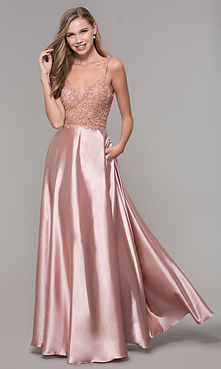 Long Rose Gold V-Neck Prom Dress