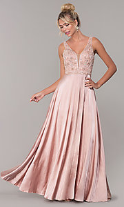 Image of long rose gold satin prom dress with beaded bodice. Style: DQ-PL-2693 Front Image