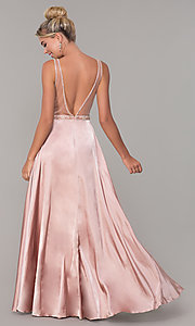 Image of long rose gold satin prom dress with beaded bodice. Style: DQ-PL-2693 Back Image