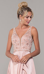 Image of long rose gold satin prom dress with beaded bodice. Style: DQ-PL-2693 Detail Image 1