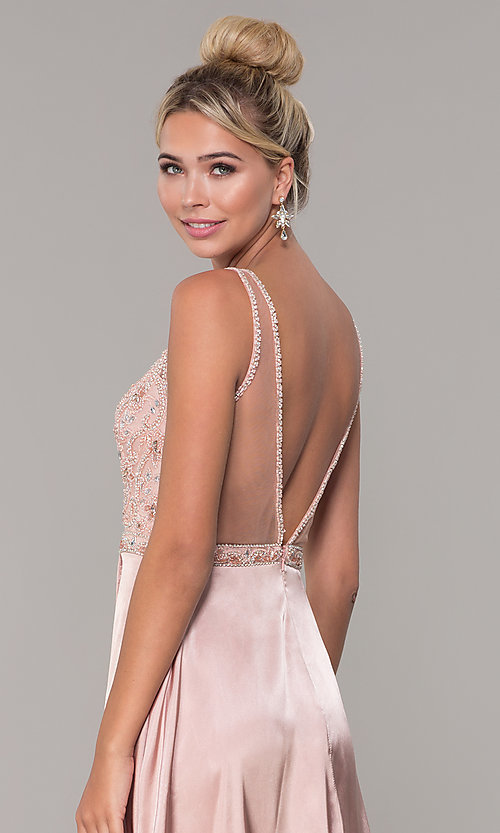 Image of long rose gold satin prom dress with beaded bodice. Style: DQ-PL-2693 Detail Image 2