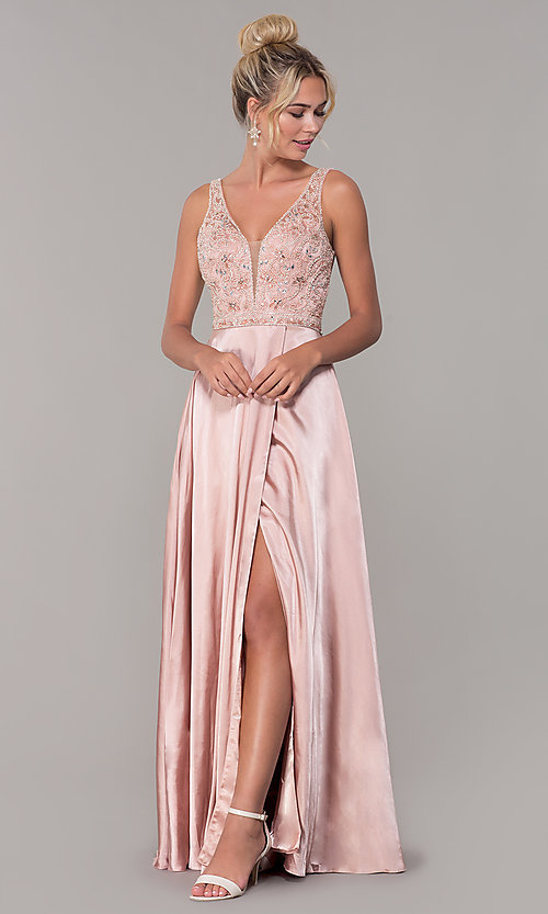 Image of long rose gold satin prom dress with beaded bodice. Style: DQ-PL-2693 Detail Image 3