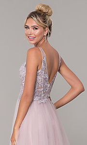 Image of long formal tulle prom dress with v-neckline. Style: DQ-2511 Detail Image 2