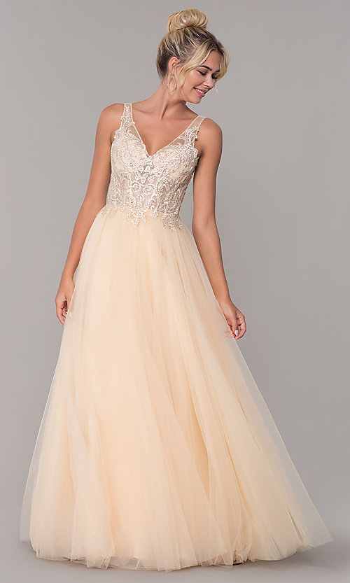 Image of long formal tulle prom dress with v-neckline. Style: DQ-2511 Detail Image 4