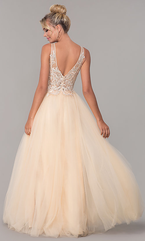 Image of long formal tulle prom dress with v-neckline. Style: DQ-2511 Back Image
