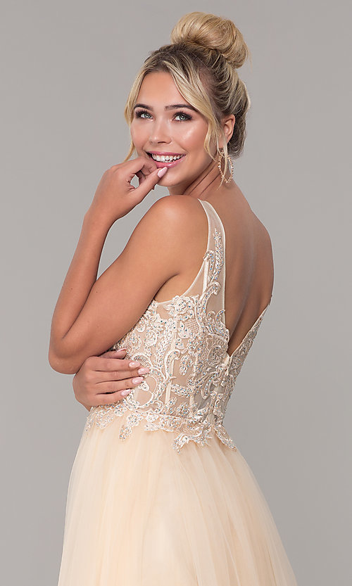 Image of long formal tulle prom dress with v-neckline. Style: DQ-2511 Detail Image 7