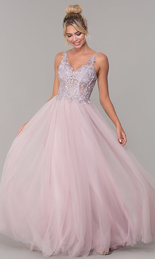 Image of long formal tulle prom dress with v-neckline. Style: DQ-2511 Front Image
