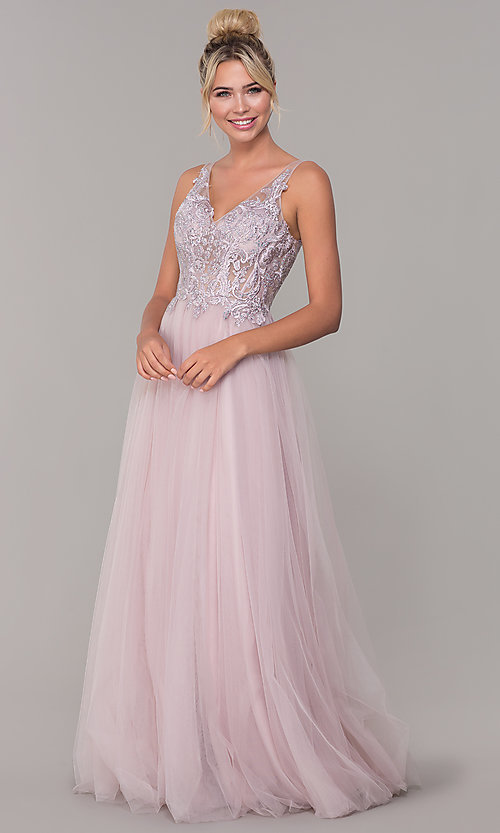 Image of long formal tulle prom dress with v-neckline. Style: DQ-2511 Detail Image 3