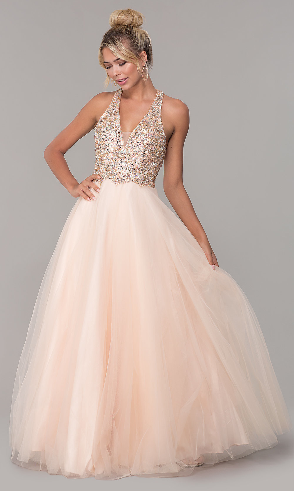 48180a091e8d9 Image of long a-line tulle prom dress with beaded bodice. Style: DQ. Tap to  expand