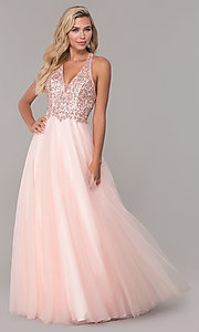 Image of long a-line tulle prom dress with beaded bodice. Style: DQ-2532 Detail Image 4