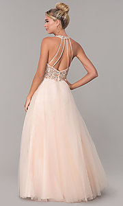 Image of long a-line tulle prom dress with beaded bodice. Style: DQ-2532 Back Image