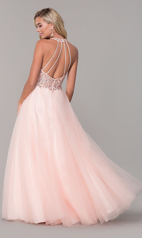 Image of long a-line tulle prom dress with beaded bodice. Style: DQ-2532 Detail Image 5