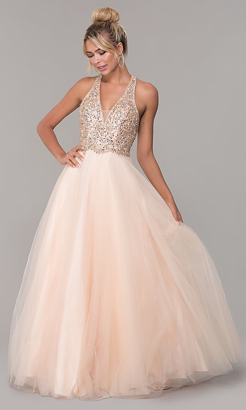 Image of long a-line tulle prom dress with beaded bodice. Style: DQ-2532 Front Image