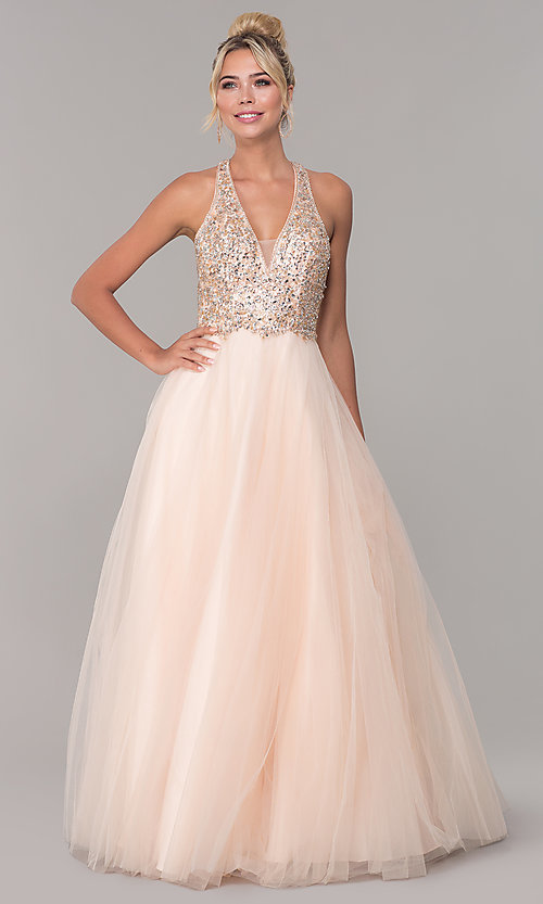 Image of long a-line tulle prom dress with beaded bodice. Style: DQ-2532 Detail Image 3