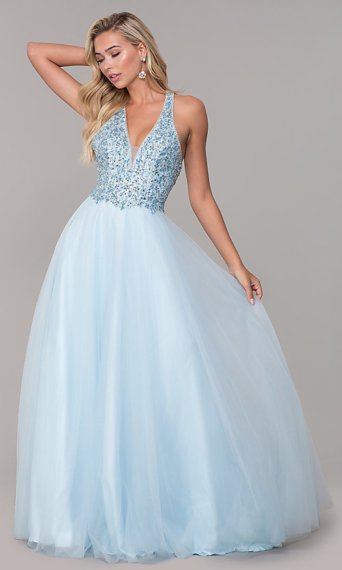 Image of long a-line tulle prom dress with beaded bodice. Style: DQ-2532 Detail Image 7