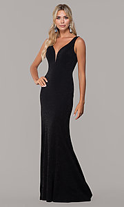 Image of long glitter sleeveless formal dress with v-neckline. Style: DQ-2497 Front Image