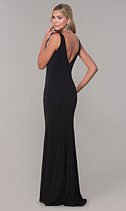Image of long glitter sleeveless formal dress with v-neckline. Style: DQ-2497 Back Image