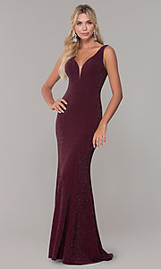 Image of long glitter sleeveless formal dress with v-neckline. Style: DQ-2497 Detail Image 4
