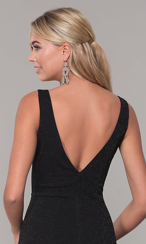 Image of long glitter sleeveless formal dress with v-neckline. Style: DQ-2497 Detail Image 2