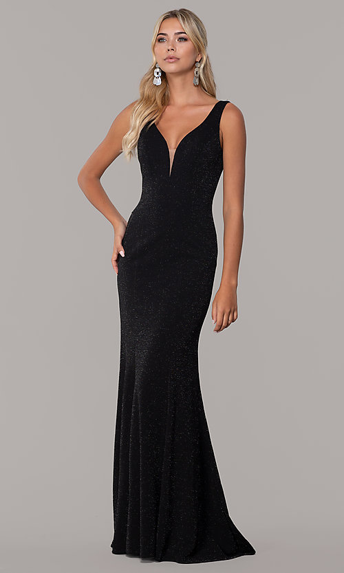 Image of long glitter sleeveless formal dress with v-neckline. Style: DQ-2497 Detail Image 3