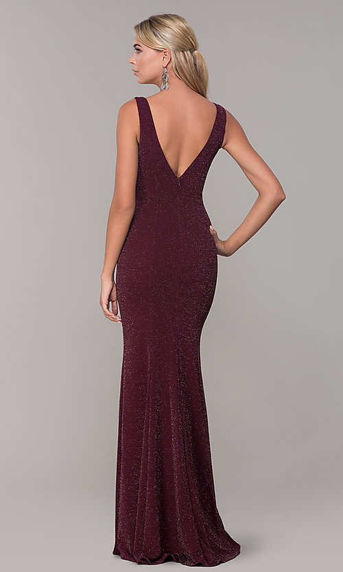 Image of long glitter sleeveless formal dress with v-neckline. Style: DQ-2497 Detail Image 5