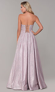 Image of strapless dusty pink corset-back long formal dress. Style: DQ-2651 Back Image