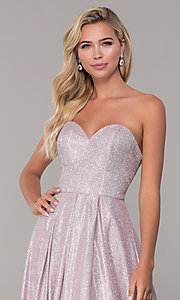 Image of strapless dusty pink corset-back long formal dress. Style: DQ-2651 Detail Image 1