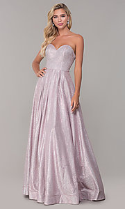 Image of strapless dusty pink corset-back long formal dress. Style: DQ-2651 Detail Image 3