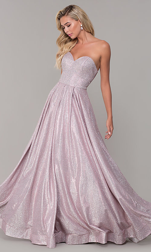 Image of strapless dusty pink corset-back long formal dress. Style: DQ-2651 Front Image