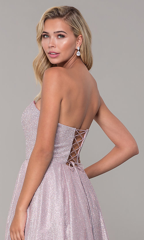 Image of strapless dusty pink corset-back long formal dress. Style: DQ-2651 Detail Image 2