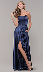 Image of long faux-wrap satin prom dress with slit. Style: DQ-2652 Detail Image 4