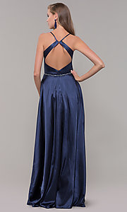 Image of long faux-wrap satin prom dress with slit. Style: DQ-2652 Detail Image 5