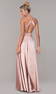 Image of long faux-wrap satin prom dress with slit. Style: DQ-2652 Back Image