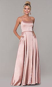 Image of long faux-wrap satin prom dress with slit. Style: DQ-2652 Detail Image 3