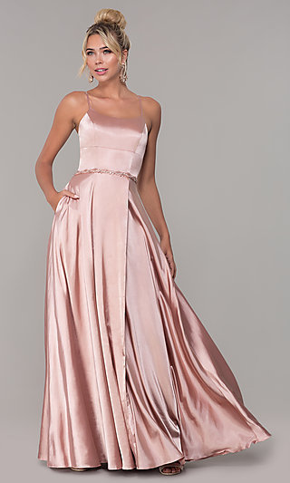 Long Faux-Wrap Satin Prom Dress with Slit