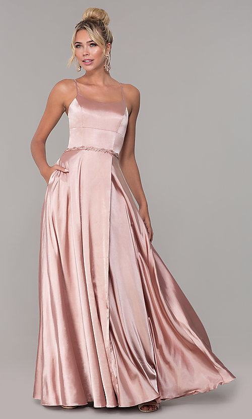 Image of long faux-wrap satin prom dress with slit. Style: DQ-2652 Front Image