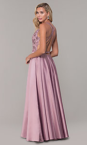 Image of long satin formal prom dress with pockets. Style: DQ-2542 Back Image