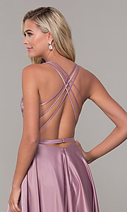 Image of long satin formal prom dress with pockets. Style: DQ-2542 Detail Image 2