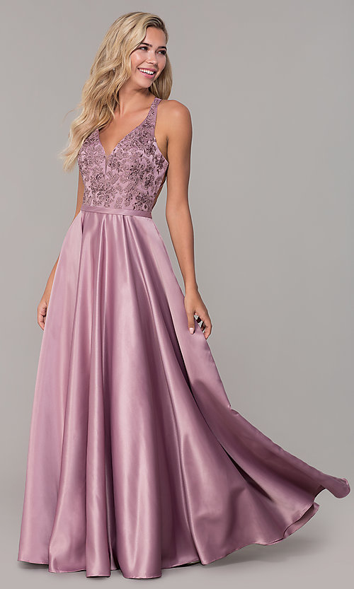 Image of long satin formal prom dress with pockets. Style: DQ-2542 Front Image