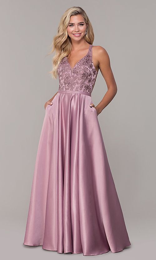 Image of long satin formal prom dress with pockets. Style: DQ-2542 Detail Image 3