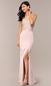 Image of long dusty pink satin prom dress with lace. Style: DQ-2631 Front Image