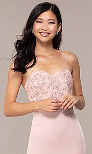 Image of long dusty pink satin prom dress with lace. Style: DQ-2631 Detail Image 1