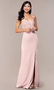 Image of long dusty pink satin prom dress with lace. Style: DQ-2631 Detail Image 3