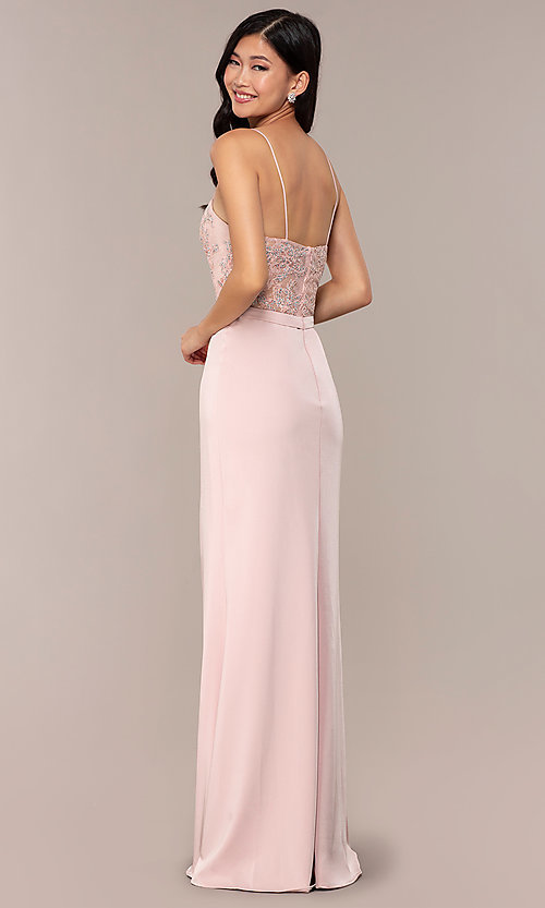 Image of long dusty pink satin prom dress with lace. Style: DQ-2631 Back Image